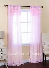 Pink Ruffle Blackout Curtains by Evelyn Linen Blend Ruffle Bottom Blackout Panel Pottery Barn