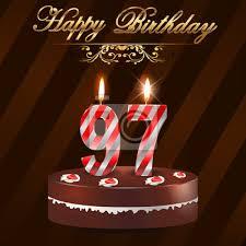 97 jahre happy birthday card mit kuchen und kerzen 97 geburtstag bilder myloview