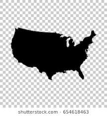 USA Map Isolated On Transparent Background Black For Your Design Vector Illustration