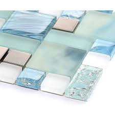 glass backsplash tile 304 stainless steel metal tiles blue