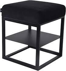 damiware otto moderner polsterhocker sitzhocker hocker sitzbank fußbank pouf mit samt stoffbezug samt schwarz 43 x 43 cm