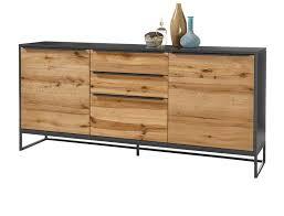 sideboard asmara in eiche furniert und anthrazit lackiert kommode mit metallgestell schwarz 184 x 85 cm
