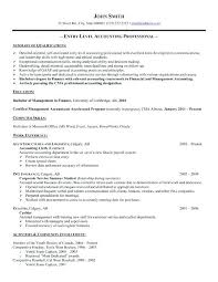 Entry Level Resume Samples Accounting Sample For High School Students
