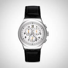 Swatch YOS451 LImposante Herrenchronograph Schwarz Lederband Schweiz