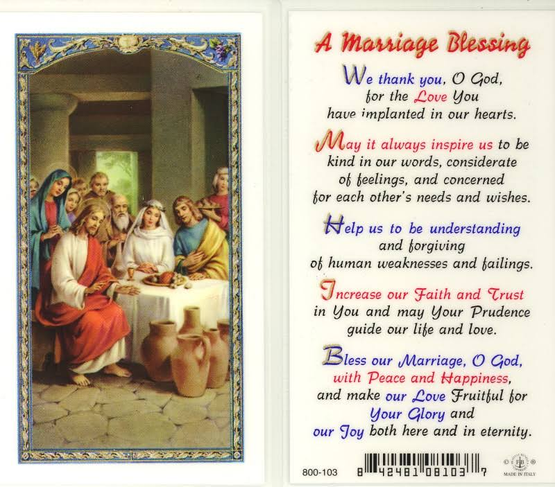 WJ Hirten E24-715 A A Marriage Blessing, Clear Holy Cards