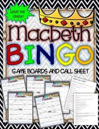 MACBETH BINGO INSTRUCTIONS GAME BOARD AND CALL SHEETS