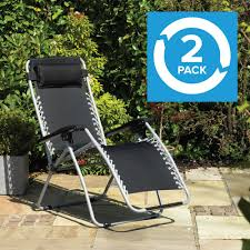 Reclining Zero Gravity Sun Chair Lounger - Twin Pack