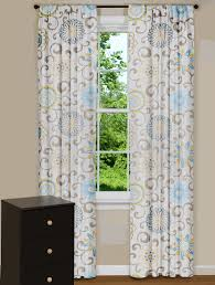 modern floral curtain panels drapes spa blue yellow grey