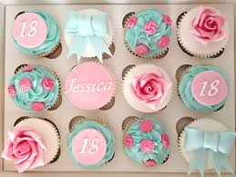 Aqua and Pink Birthday Cupcakes