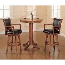 Hillsdale Furniture Park View Medium Brown Oak 42-Inch Bistro Table And Two  Bar Stools