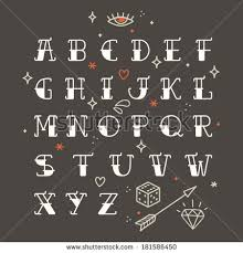 Poster Tattoo Style Font With Rounded Corners Black Condensed Letters Alphabet Old School