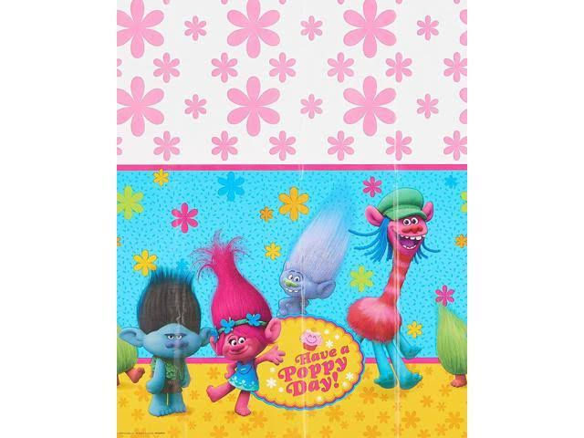 "American Greetings Trolls Plastic Table Cover - 54"" X 96"""