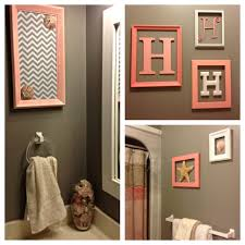 Dark Teal Bathroom Decor by Our New Beachy Bathroom Monogram Wall Pink Tan U0026 Grey Home