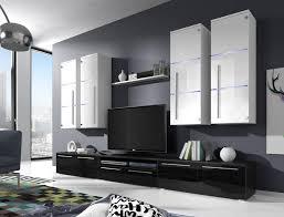 moderne wohnwand bary wohnzimmer schrankwand hochglanz led glas anbauwand