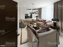 moderne wohnzimmer mit sitzbereich und media stauraum stockfoto und mehr bilder 2015