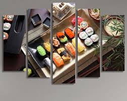 Sushi Set Plate Japanese Art Wall Hanging