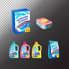 Set Of Templates Realistic Package For Bottles With Laundry And Dishwasher Detergent Plastic Containers