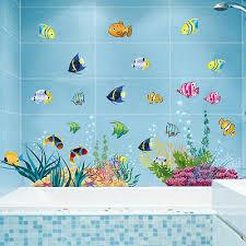 wandtattoo wandsticker fische wandbild badezimmer aquarium meer meerestiere 139