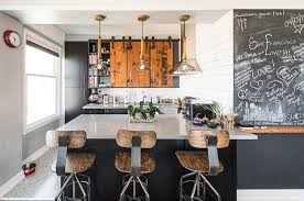 Kitchens Industrial Kitchen With Vintage Stools And Black Inside Doors Decorating