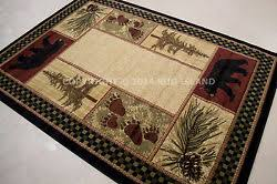 Lodge Cabin Rustic Bear Pinecone Black Green Brown Red Area Rug FREE SHIPPING