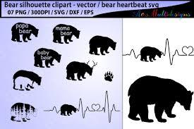Bear Svg Silhouette Vector Mama Cut Papa Family