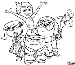 Inside Out Coloring Pages Five Emotions