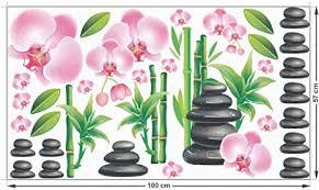 grazdesign fenstertattoo wellness bad bambus steine orchideen fensterbilder badezimmer duschkabine 100x57cm