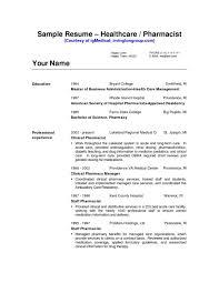 Cv Resume Sample Pharmacist Example Pharmacy Technician Template Hospital