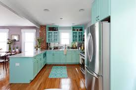 Open Space With Kitchen Set Turquoise Cabinet Systems White Countertop Metal Appliances Glossy Stained Cabinets