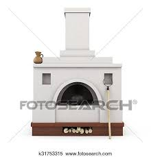Russian Stove Front View Isolated On White Background 3d Illustration