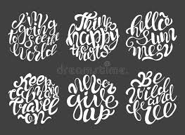 Download Hand Drawn Typography Posters With Brush Lettering Design Quotes About Summer Stock Vector