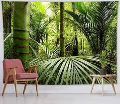 lb dschungel wandteppich tropischer wald wandbehang grün pflanzen wandtuch 235x180cm tapisserie für wohnzimmer schlafzimmer wohnheim wanddeko