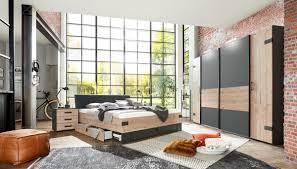 schlafzimmer komplett set 4 tlg stockholm bett 180 kleiderschrank 272 cm nachtkommoden grau braun weißtanne