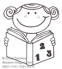 Clip Art Picture Coloring Page Of A Girl Reading Book For School Homework