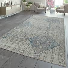 kurzflor teppich ornamente orientalisch creme