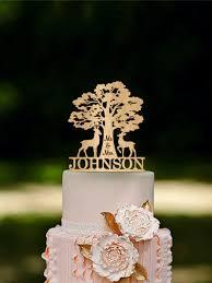 Deer Mr Mrs Wedding Cake Topper Wooden Last Name Silhouette Rustic Fall Autumn