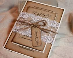 Rustic Wedding Invitations Lace And Kraft Invite Burlap