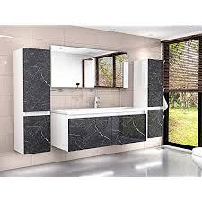 badmöbel set weiss marmor optik hochglanz badezimmermöbel 120 cm