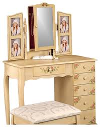 Coaster Coaster Hand Painted Wood Makeup Vanity Table Set with