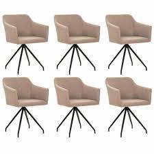vidaxl esszimmerstühle drehbar 6 stk taupe stoff 276054