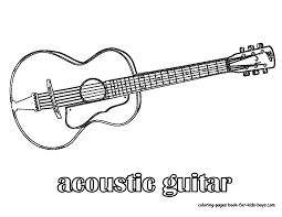 Free Printable Coloring Guitar Pages 55 In Picture Page With