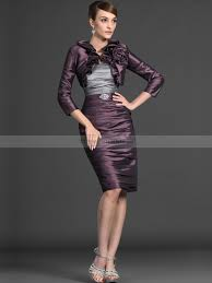 two tone strapless sheath pleated short mother of the bride dress