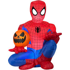 Disney Halloween Airblown Inflatables by 4 U0027 Tall Spiderman Holding Pumpkin Halloween Airblown Inflatable