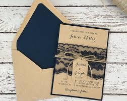 Rustic Wedding Invitation Navy Blue Lace
