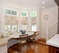 Dining Room Bay Window Curtain Ideas Rustic With Cherry Color Roman Shades