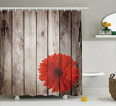 Ambesonne Grunge Decor Shower Curtain Set Rustic Wooden Garden Fence With A Red Daisy Bloom Picture