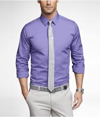 purple dress shirt black and white tie light grey pant gray