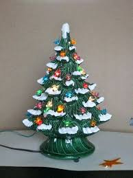 Vintage Ceramic Christmas Tree Electric Plastic Bird Bulbs Snow Capped Light Up Decoration Large For Sale