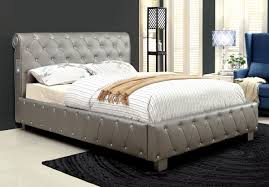 Silver Leatherette Tufted Upholstered Bed Frame w Bluetooth