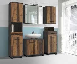 badezimmer 5 tlg veris inkl led beleuchtung forte beton dunkelgrau wood vintage